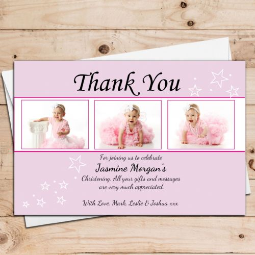 10 Personalised Girls Christening Baptism Birthday Thank you PHOTO Cards N29
